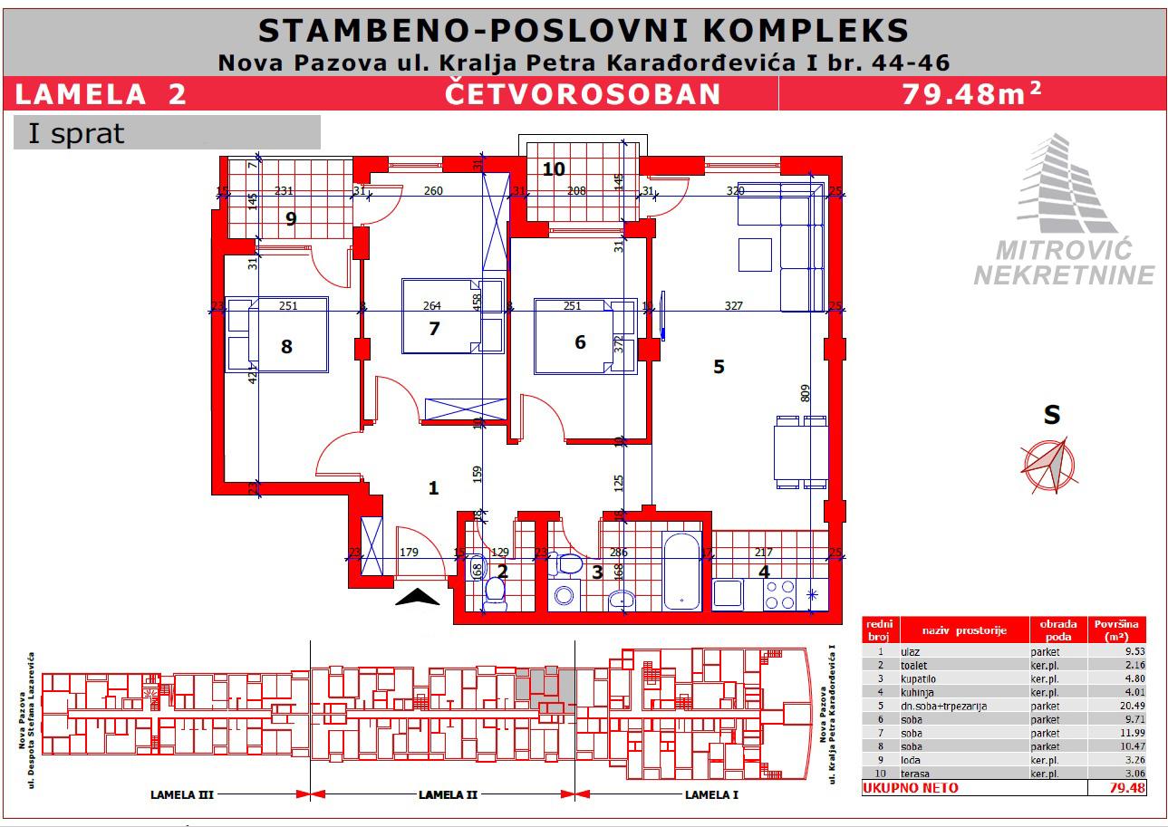 Stan Nova Pazova – PREZIDENT, četvorosoban 79m2