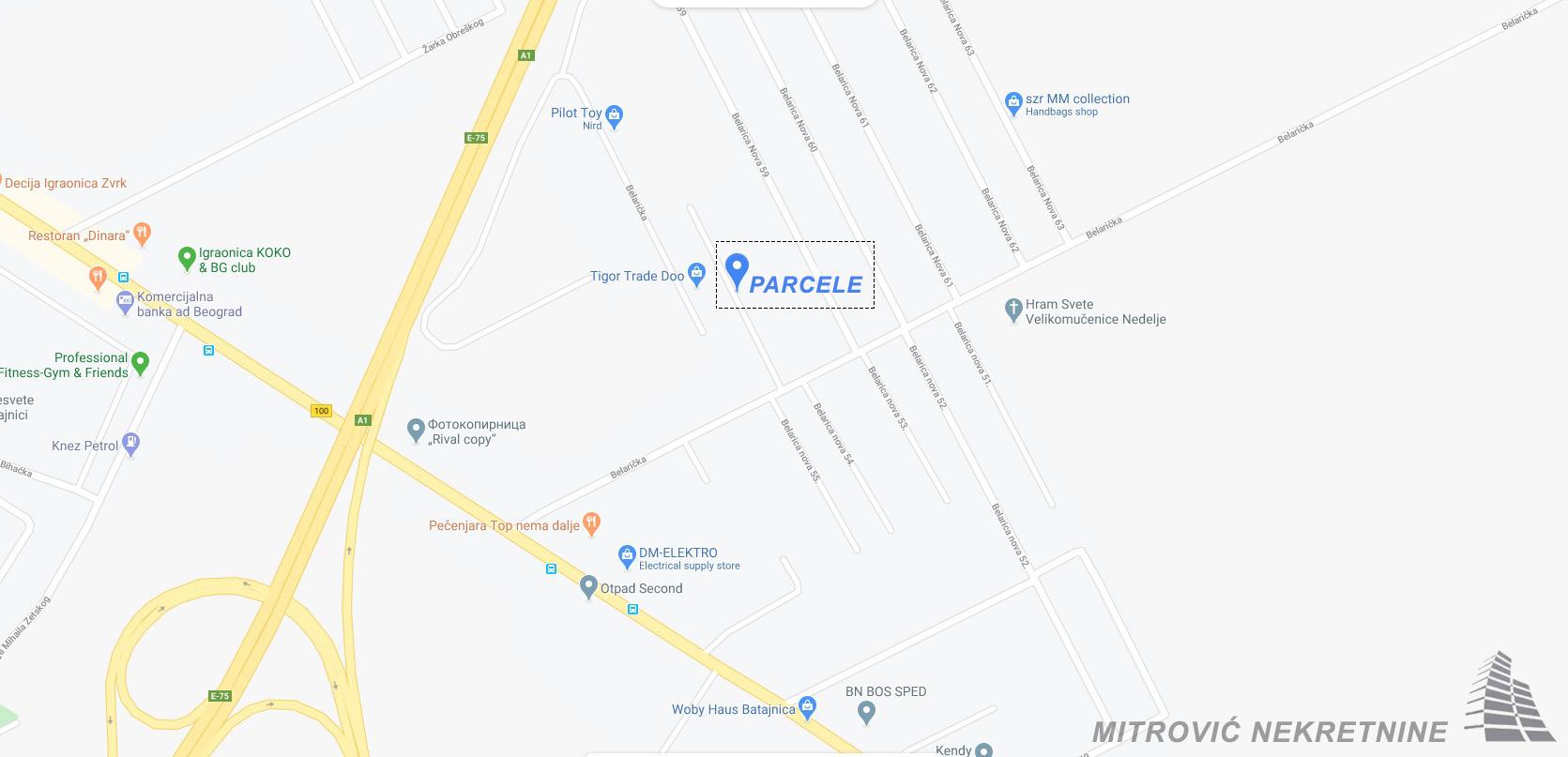 Placevi Batajnica, naselje Belarica površina od 400m2 do 928m2
